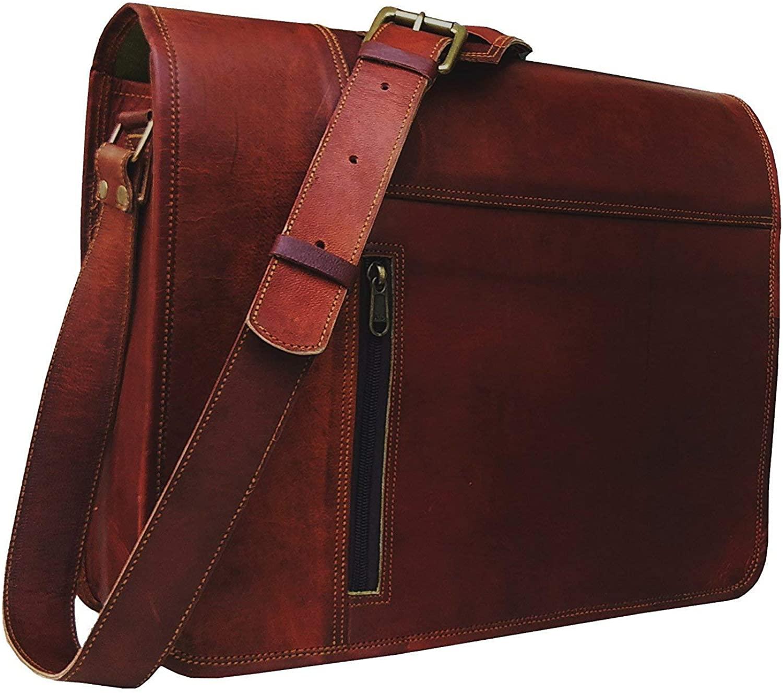 Leather Laptop Messenger Bag Vintage Briefcase Satchel for Men and Women- 16 Inch by Vintage Couture (redddies Brown)