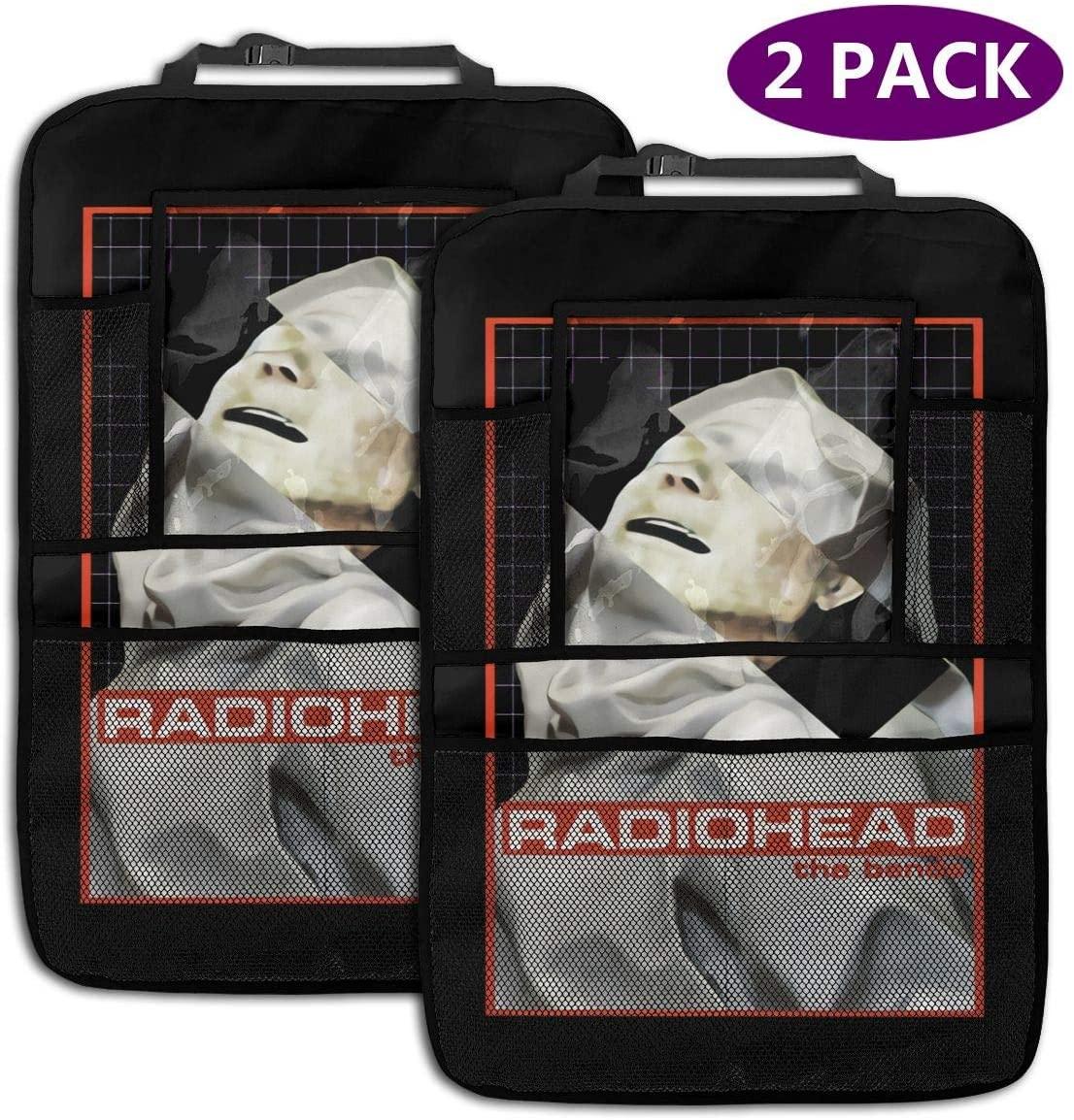 Backseat Car Organizer Radiohead+The+ Bends Seamless Vector Background 2 Pack Car Seat Organizer Waterproof Durable Multi Pocket Back Seat Storage Bag Travel Accessories