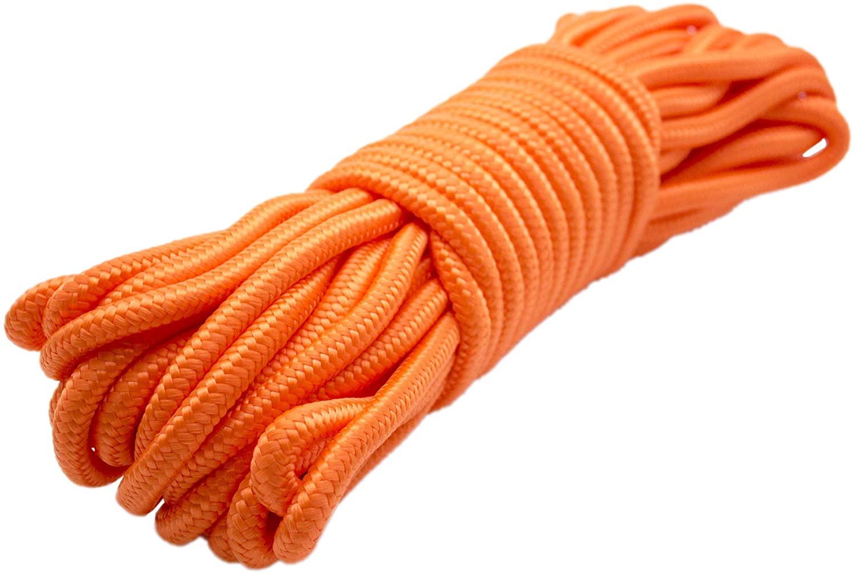 Emergency Zone 9mm Nylon Braided, 50 Foot, Multi-Purpose Camping Rope | Orange (1 Pack)