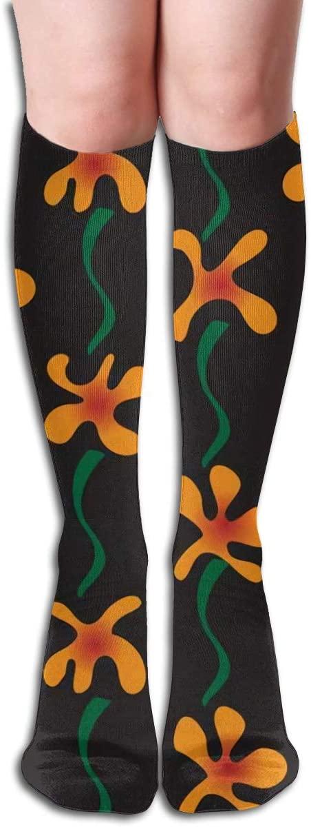 Fantastic Orange Flowers,Design Elastic Blend Long Socks Compression Knee High Socks (50cm) for Sports