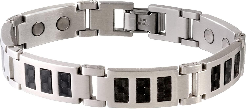 Sabona Black Carbon Fiber Stainless Magnetic Bracelet - X-Large