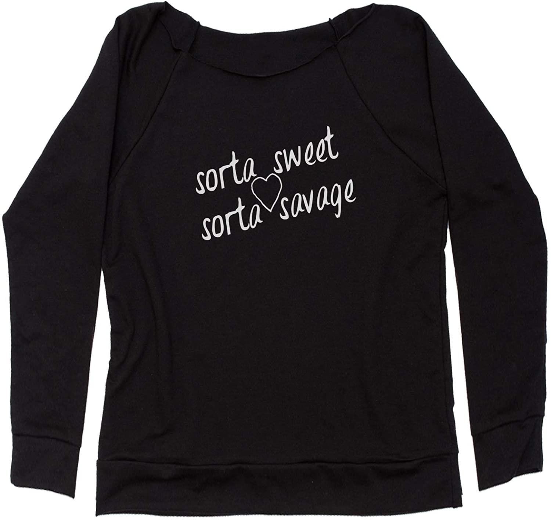 Expression Tees Sorta Sweet Sorta Savage Off Shoulder Sweatshirt