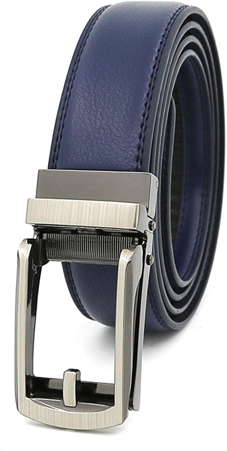 Andongnywell Automatic Buckle Belt Mens Leather Ratchet Dress Belt with Open Buckle Dress Casual Jeans Belt No Hole