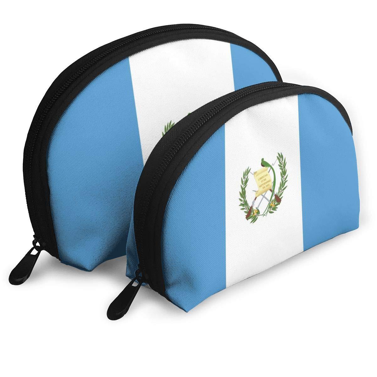Half Moon Cosmetic Beauty Bag,Flag Of Guatemala Handy Cosmetic Pouch Clutch Makeup Bag For Women Girls
