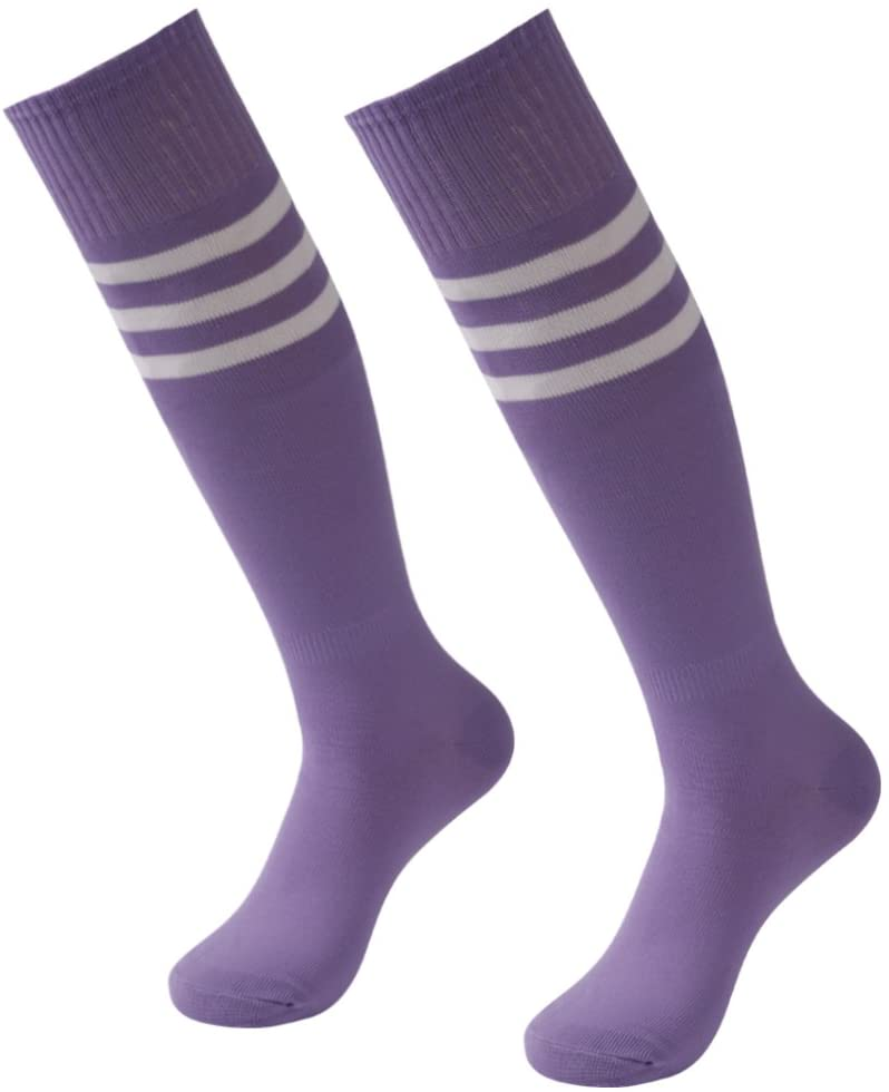 Long Sport Socks, 3street Unisex Over Knee High Full Cushioned Arch Support Compression Baseball Rugby Basketball Triple Striped Tube Socks for Boy's Birthday Gift Medium Purple 2 Pairs