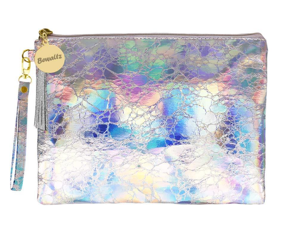 Bewaltz Wristlet Holographic Makeup Pouch Handbag Multifunctional Clutch Bag Makeup Bag Cosmetic Bag Makeup Bag Toiletry Travel Bag Handy Large Protable Wash Pouch, Waterproof, Silver