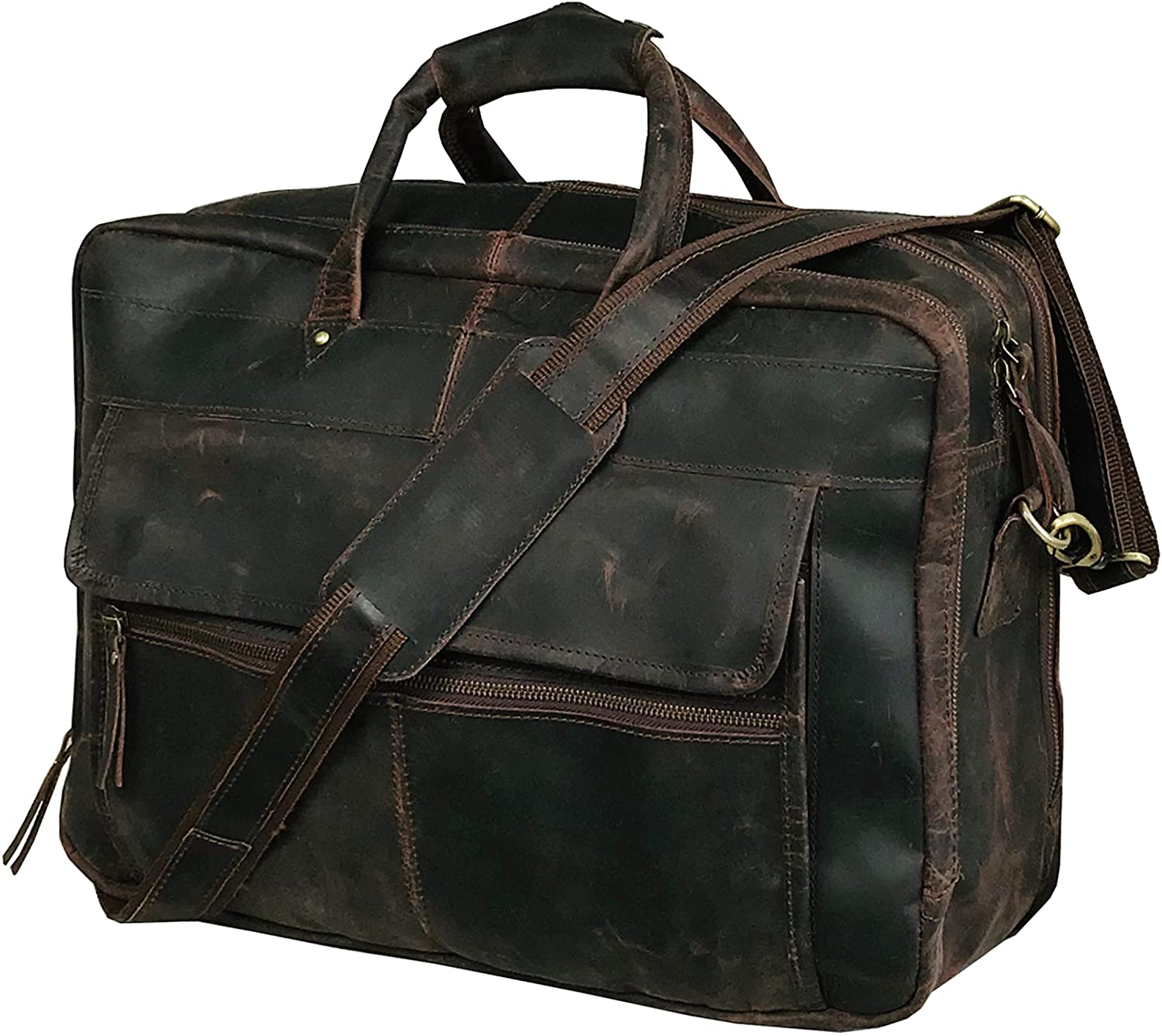 Leather Briefcase for Men Business Travel Messenger Bags 19 Inch Laptop Bag