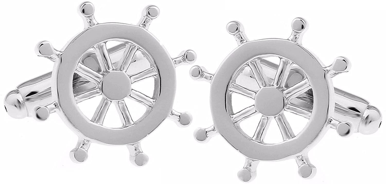 Cufflinks Direct Nautical Silver Helm Wheel Boat Ship Sailing Wedding Gift by