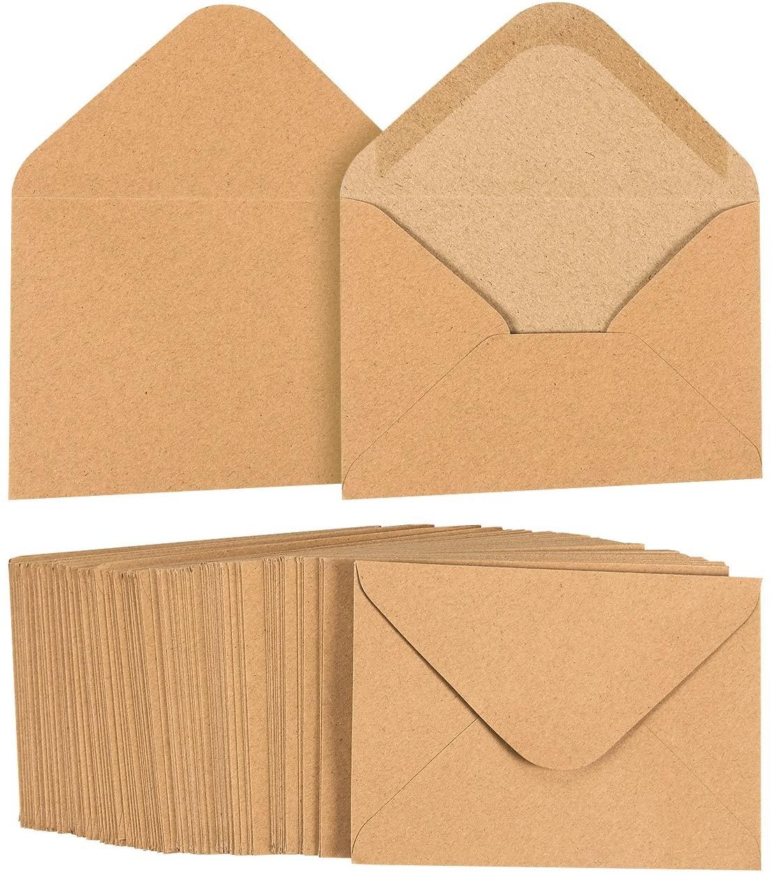 Juvale A1 Envelopes Bulk - 100-Count A1 Invitation Envelopes, Kraft Paper Envelopes for 5 x 3 Inch Wedding, Baby Shower, Party RSVP Invitations, V-Flap Photo Envelopes, Brown, 3 5/8 x 5 1/8 Inches