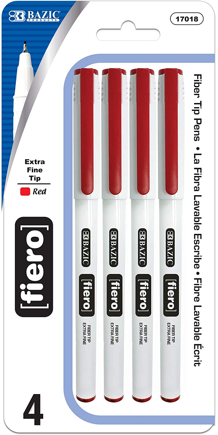 BAZIC Fiero Red Color Fiber Tip Fineliner Pen, Stick Pens Extra Fine Point, Strong Clip Smooth Writing for Office School Teacher (4/Pack)