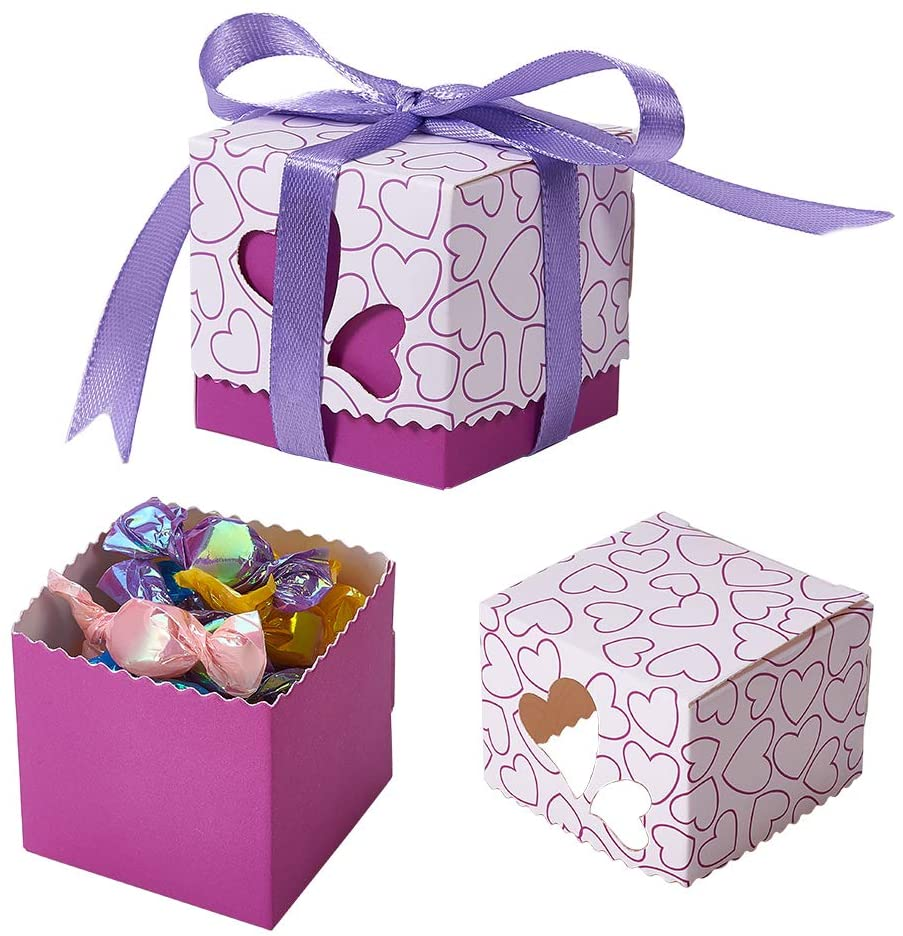 SUNNYCLUE 50PCS Small Candy Boxes 2x2x2 inches with Purple Ribbon Wedding Party Favors Treats Heart Paper Cube Boxes Bulk Craft Supplies