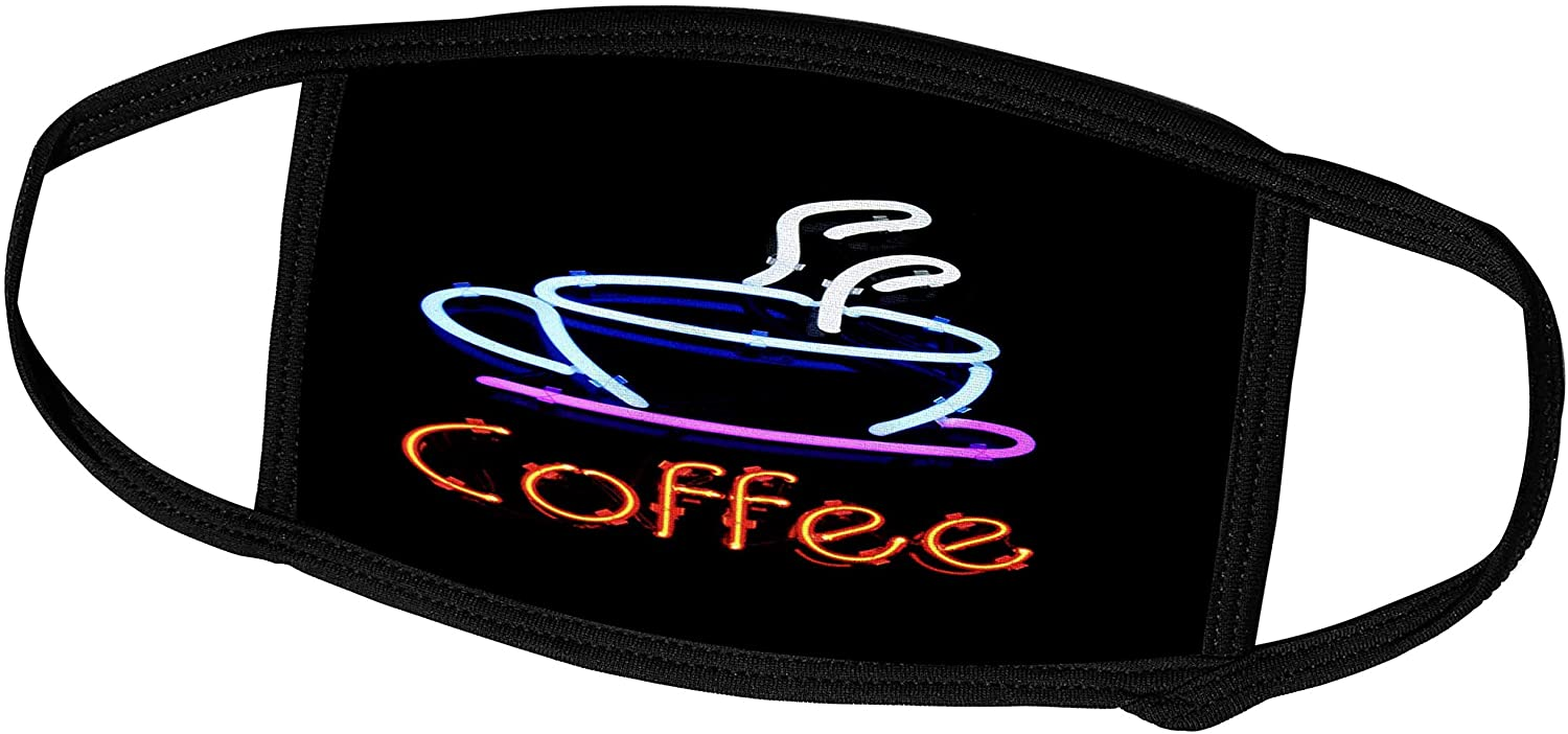 3dRose Florene - Signs - Image of Neon Sign with Word Coffee and Coffee Cup - Face Masks (fm_223453_1)