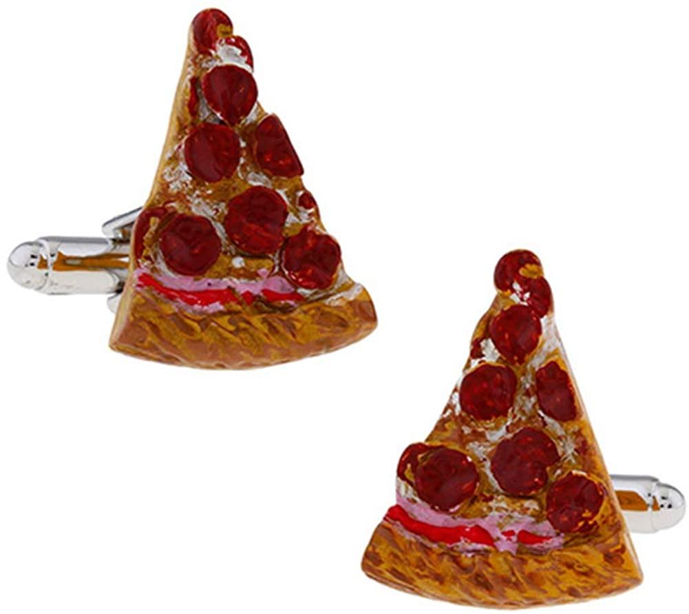 Handmade Pizza Slice Cufflinks Cheese Miniature Food Snack Cuff Links