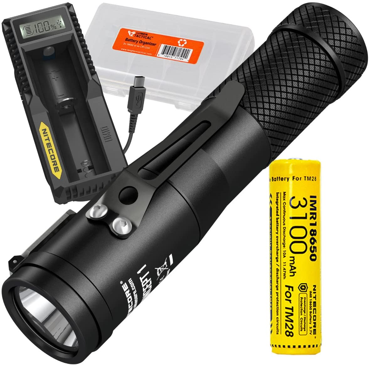Nitecore Concept 1 1800 Lumen LED Compact Everyday Carry Flashlight PLUS Nitecore UM10 Single-Port USB Digi-Charger, 3100mAh IMR Rechargeable Battery, LumenTac Battery Organizer