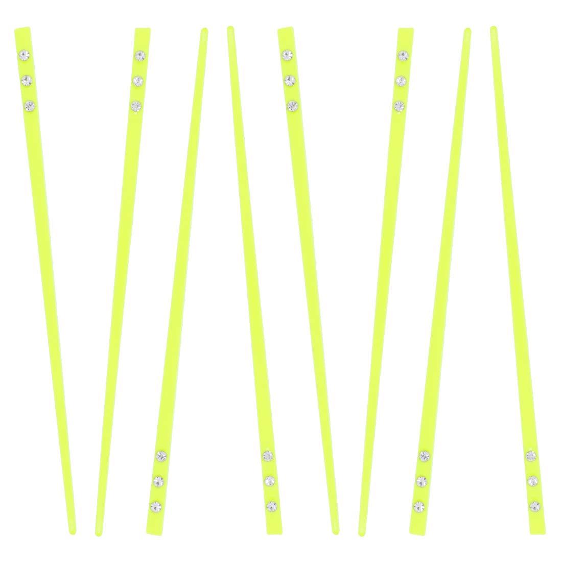 Set of 8 Neon Hair Sticks with 3 Diamonds Chopsticks Neon Yellow