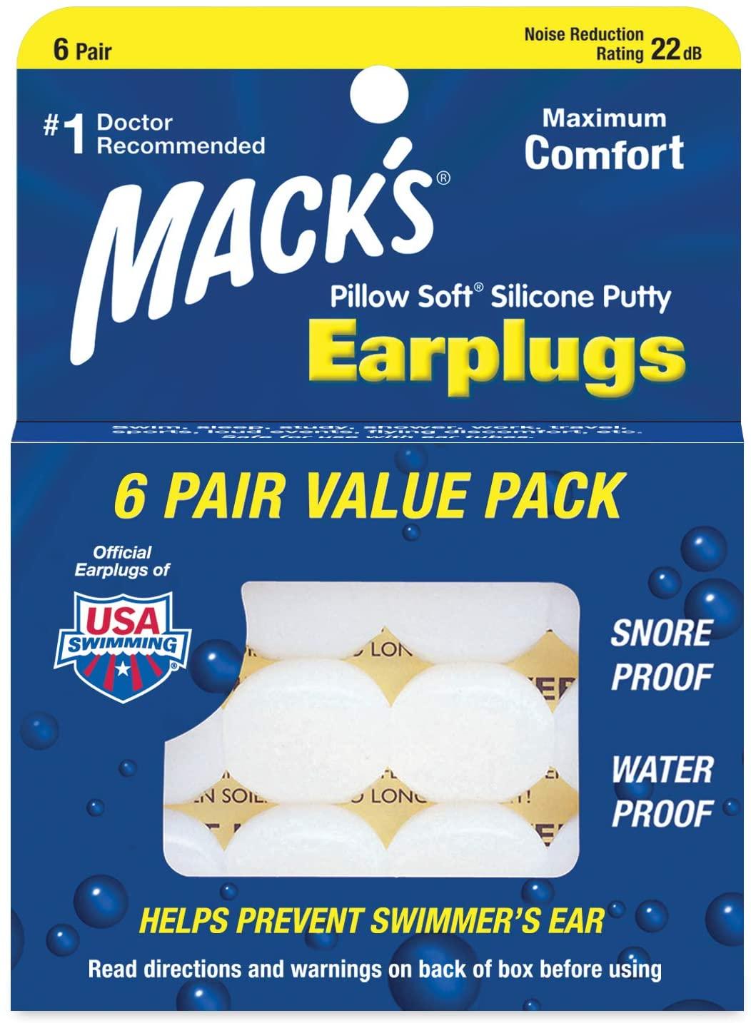 Mack's Pillow Soft Earplugs White 6 Pairs (Pack of 5)