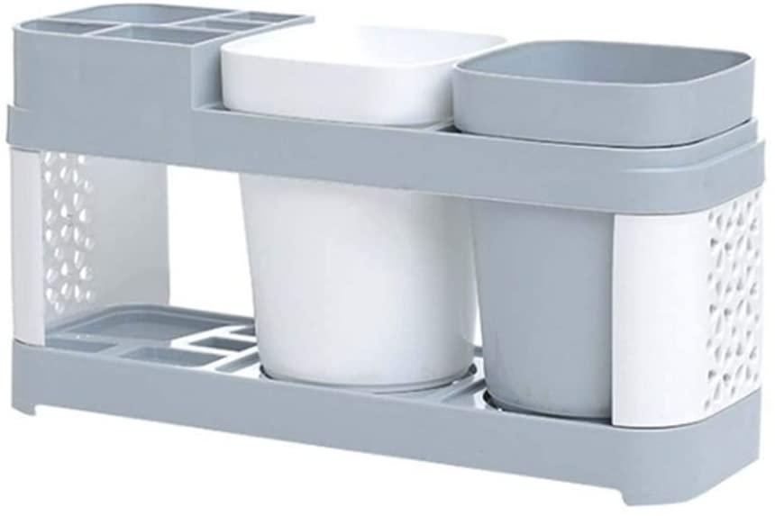 MMLUCK Toothbrush Holder Stand 2 Cup Set Shelf Bathroom Toothpaste Storage Box Rack Bathroom Accessories