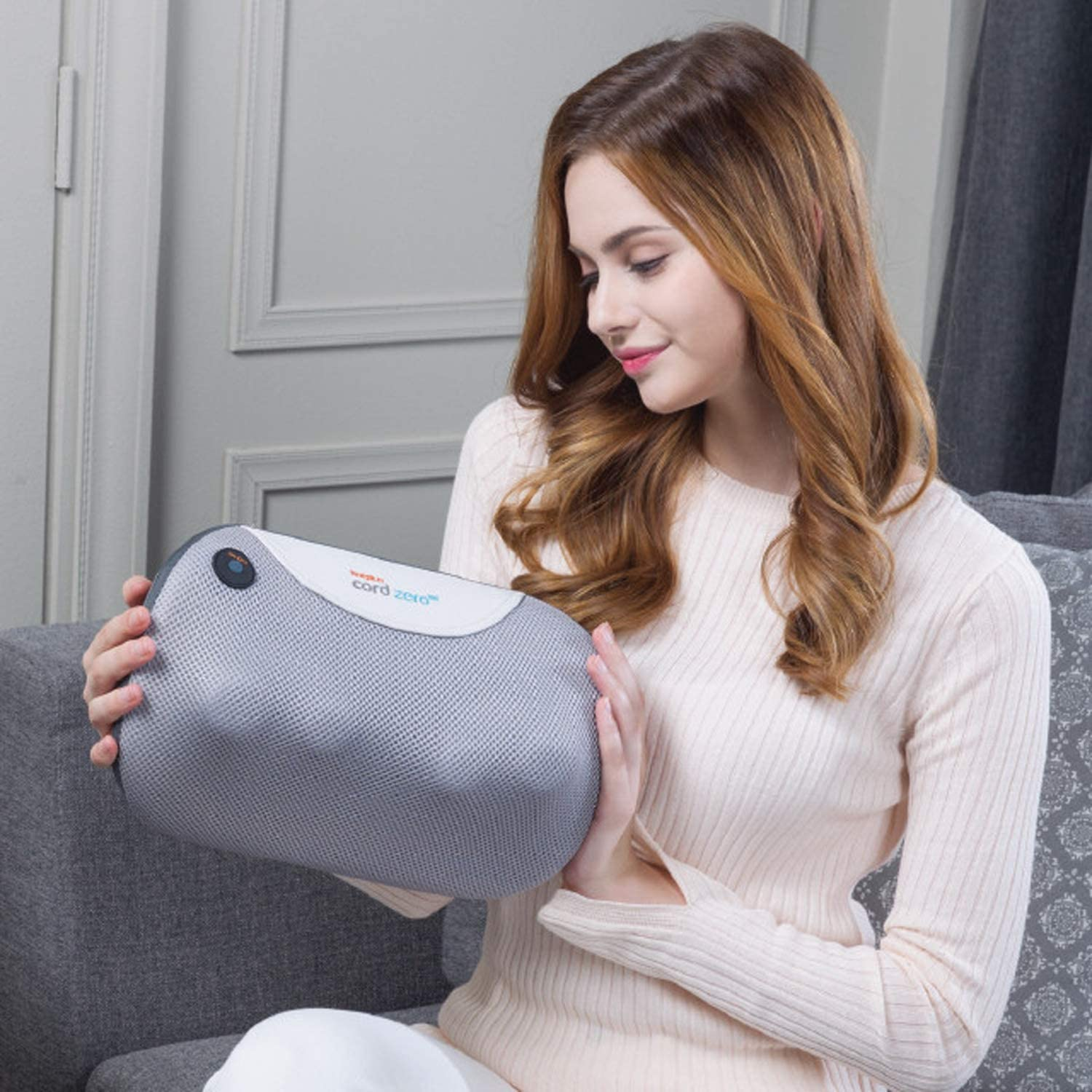 Hueplus Cordless On-The-Go All Purpose Massage Pillow with Heat for Back, Neck, Legs, Calves and Shoulders, Deep Massage for Pain Relief and Soreness, Convenient Use at Home, Office, Car Cordzero 60
