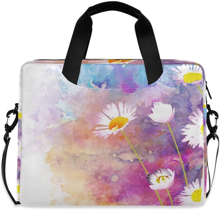 Laptop Bag Briefcase Shoulder Bag - Daisy Watercolor 15.6 Inch Tote Bag Laptop Messenger Shoulder Bag Laptop Sleeve, Great to Office, University