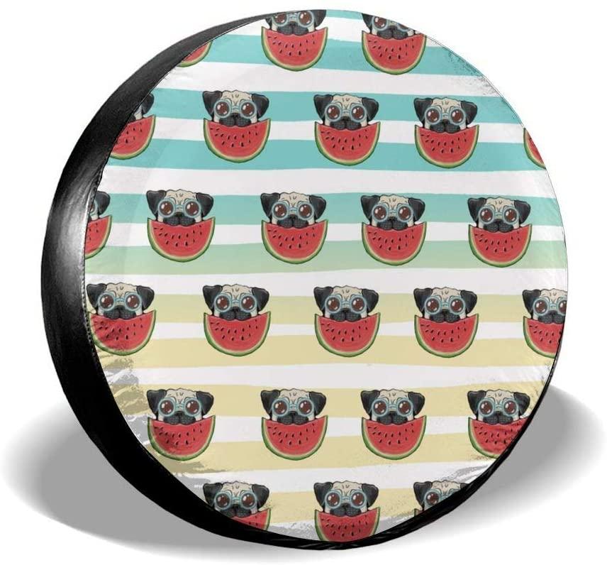 Bomini Spare Tire Covers Eating Watermelon Dog Wheel Waterproof SUV Campers Travel Rv Vans Accessories Diameter 23.6