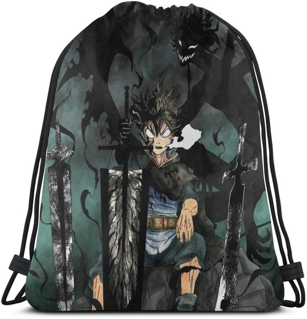 DKF Black Clover Asta Drawstring Bags Gym Bag Multifunctional Cinch Tote Bags For Sport Gym Shopping Yoga