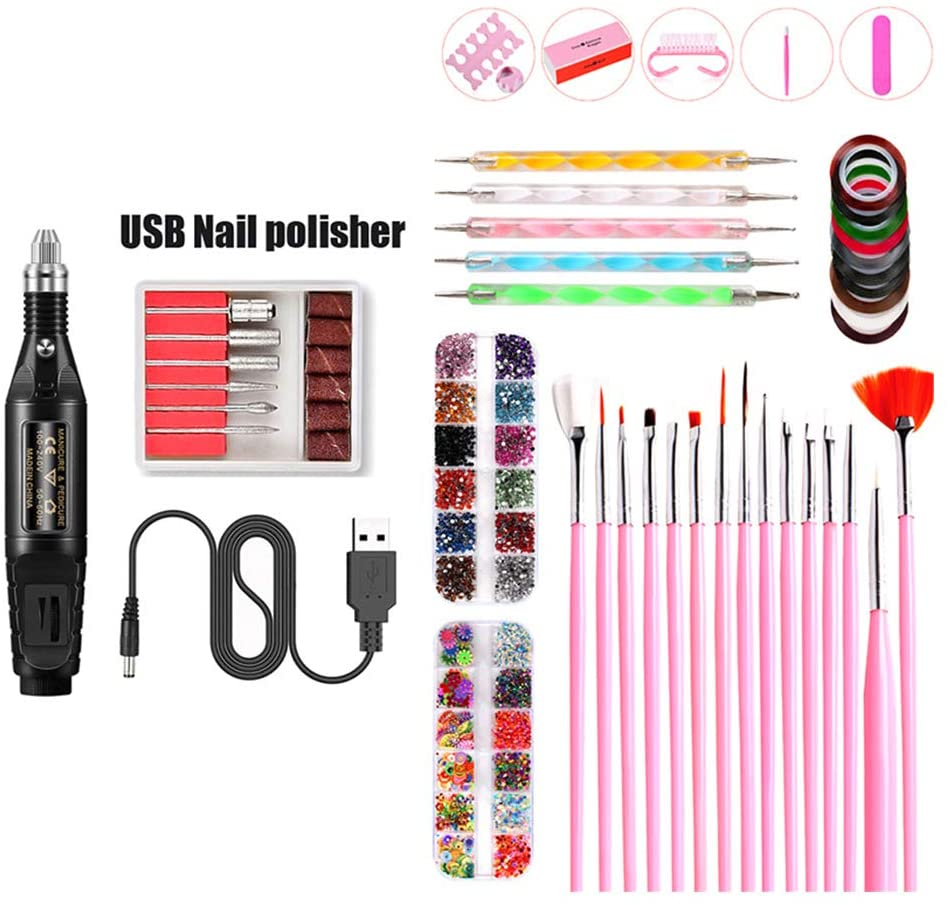 minansostey Nail Art Tool USB Charging Electric Grinder Polisher Nail Brush Dotting Painting Pen Nail File Manicure Care Home Set