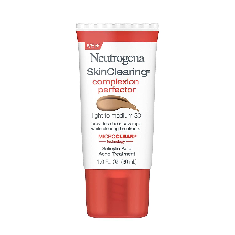Neutrogena SkinClearing Complexion Perfector Sheer Tinted Facial Moisturizer with Salicylic Acid Acne Medicine, Non-Comedogenic, Tone Evening and Pore Minimizing, Light - Medium, 1 fl. oz