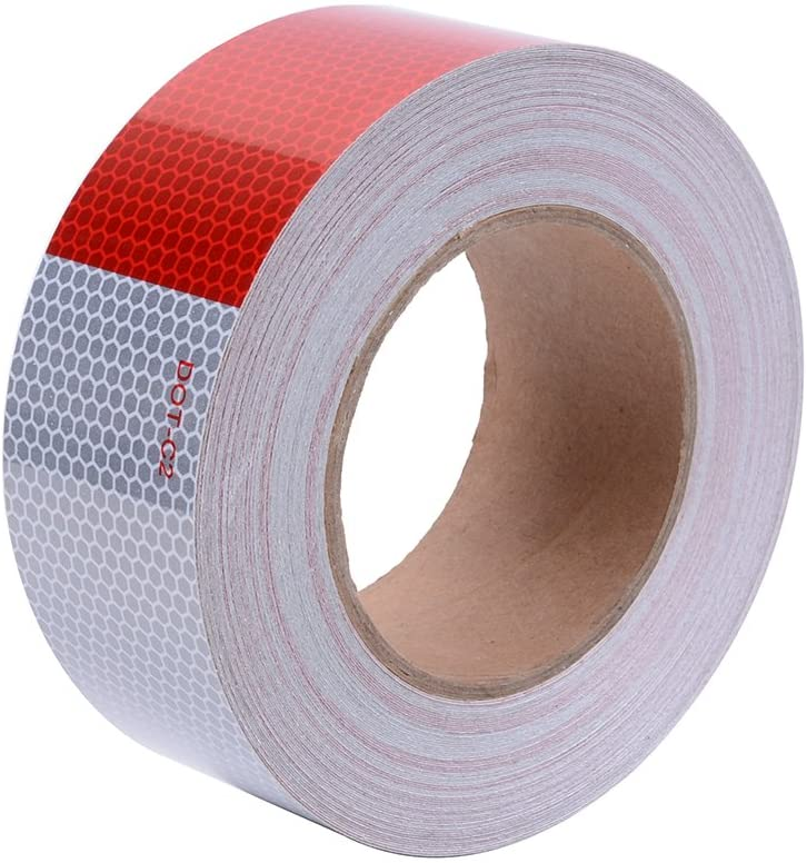 High Intensity DOT-C2 Reflective Tape 2in x 75ft Red and Silver Safety Conspicuity Tape