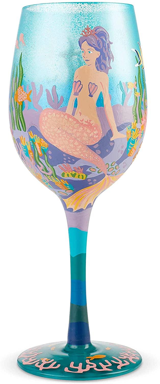 Enesco Designs by Lolita Miss Mermaid Artisan Wine Glass, 15 oz, Multicolor