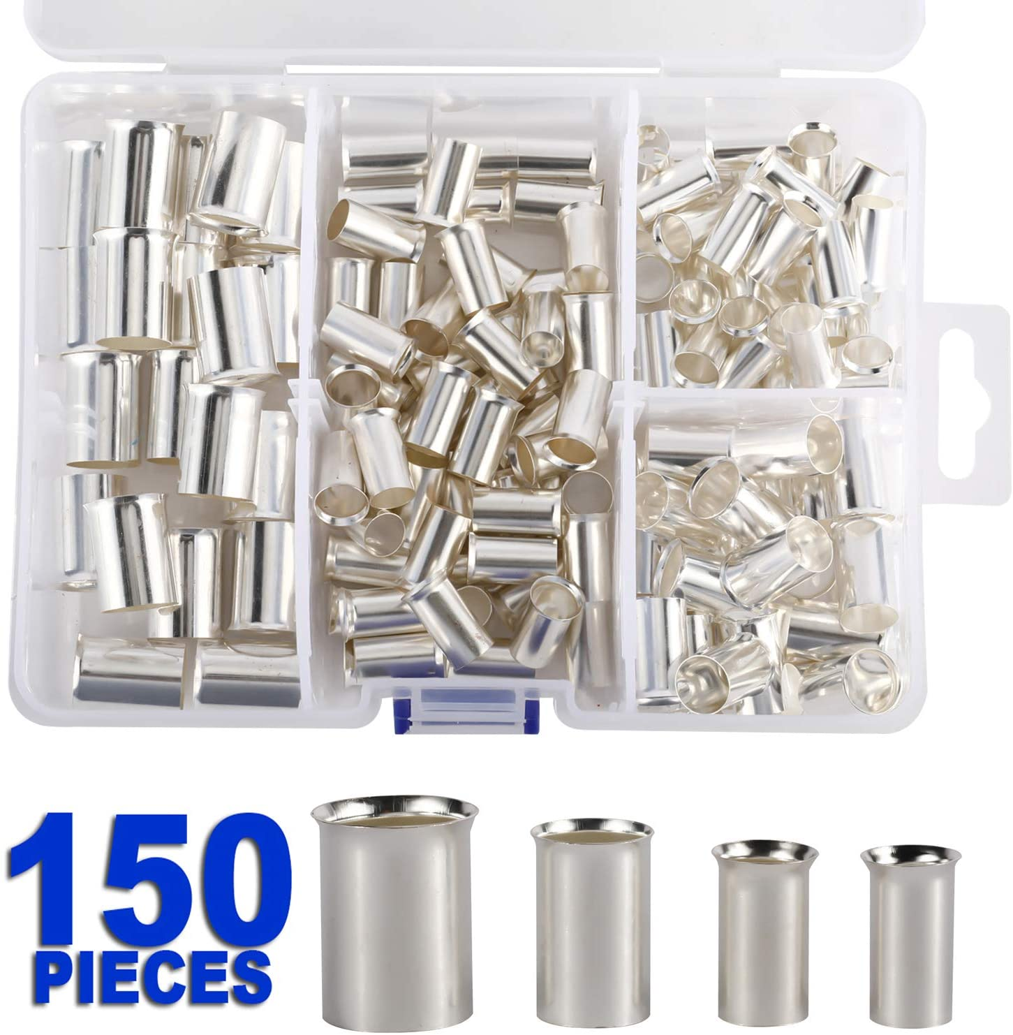 HighFree 150 Pcs Wire Copper Crimp Connector, Silver Plated Non Insulated Cable Housing Wire Ferrules Pin Cord End Terminal Assortment Kit for Car Audio Installers (4 Types Gauge: AWG 4,2,1,2/0)