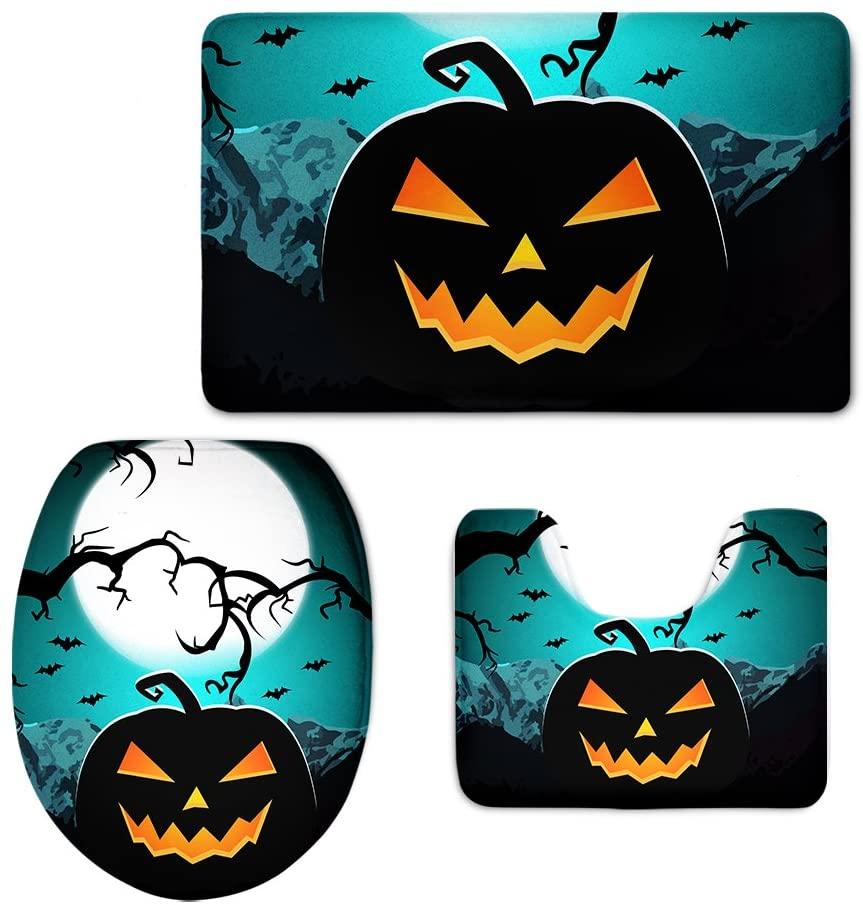 INSTANTARTS Halloween Pumpkin Pattern Bathroom Rug Set Toilet Seat Cover Contour Mat 3 PCS Carpet