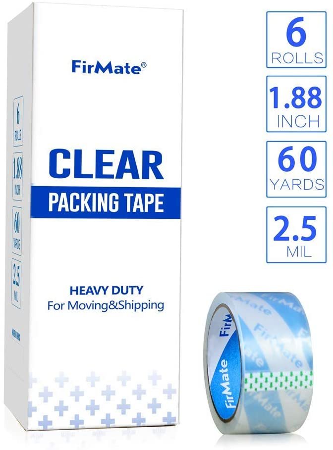FirMate Clear Packing Tape Refill 6 Rolls, 2.5 mil Thick, 1.88 inch Wide x 60 Yards Per Roll, Heavy Duty Moving Tape for Shipping Packaging Office Box Sealing & Storage