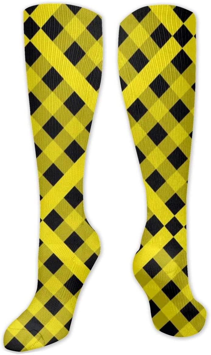 Compression Sock for Women & Men,Yellow Tartan Pattern CasualLongKneeHighTubeSocksforRunnning,SoccerAthleticSports,Travel-50cm