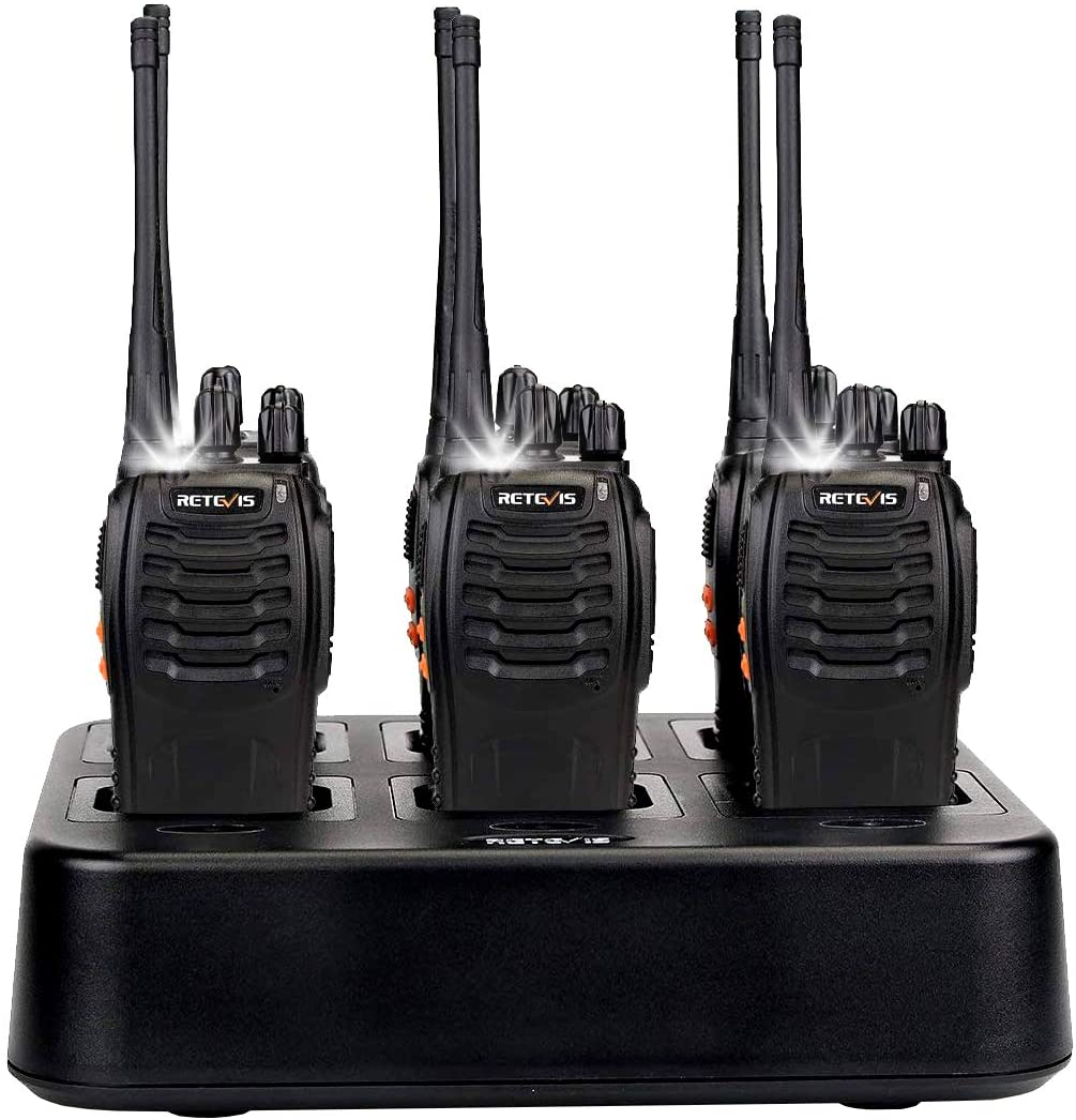 Case of 6,Retevis H-777 Walkie Talkies for Adults Long Range, Rechargeable Two-Way Radios,with 6-Way Multi Unit Charger,Flashlight Handheld Business 2 Way Radios