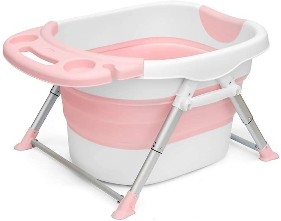 Baby Bath Inflatable Bathtub Household Children's Bath Tub Folding Tub Baby Swimming Tub Bath Tub Baby Tub Can Sit and Folding tub (Color : Pink, Size : A)