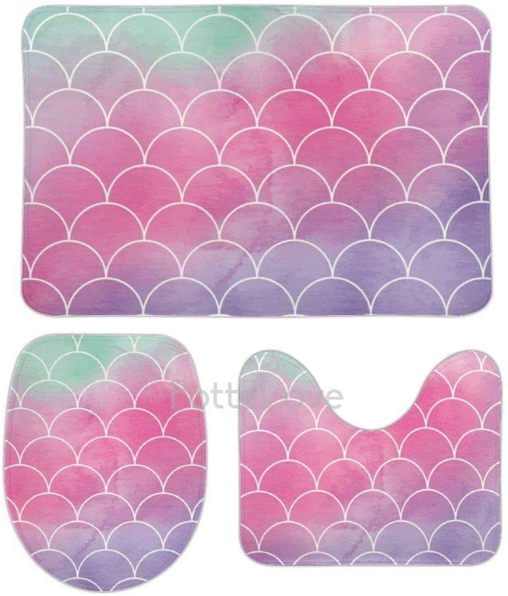 Pottelove Mermaid Scale Kids and Adults Bathroom Rugs and Mats Sets 3 Piece, Memory Foam Bath Mat, U-Shaped Contour Shower Mat Non Slip Absorbent, Coral Velvet Toilet Lid Cover Washable