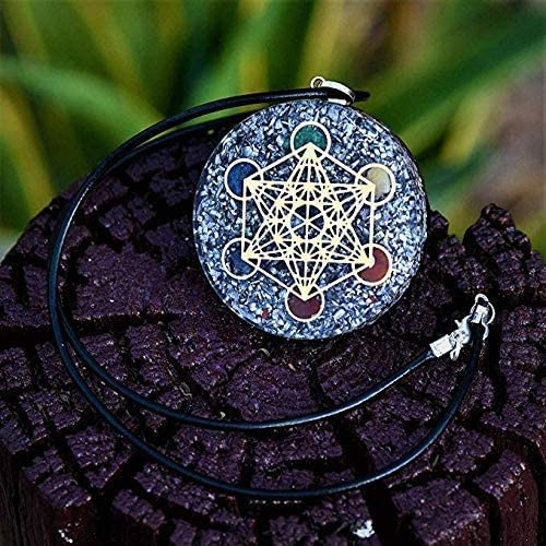 Orgone Pendants EMF Protection | Reiki Metatron's 7 Chakra Crystals Pendant| Positive Energy and Better Sleep Orgone Pendant with Two Different Chains