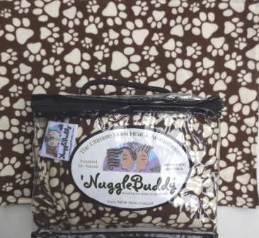 'NUGGLEBUDDY NEW! Moist Heat & Aromatherapy Organic Rice Pack for Microwave. For Puppies or Dog Lovers! Brown & Beige