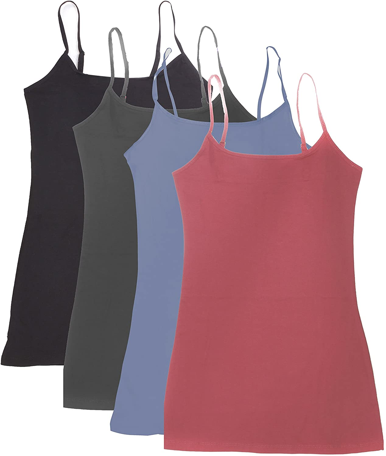4 Pack Active Basic Womens Basic Tank Top (M-Dst Rs/Dnm Blu/Chcl/Bk)
