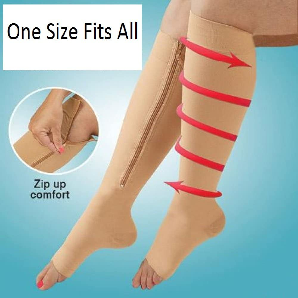 Therapeutic Zipper Compression Socks Improves Circulation Helps Relieve Varicose Veins Sore Muscles Foot and Leg Pain Relief Running Jogging Standing Walking