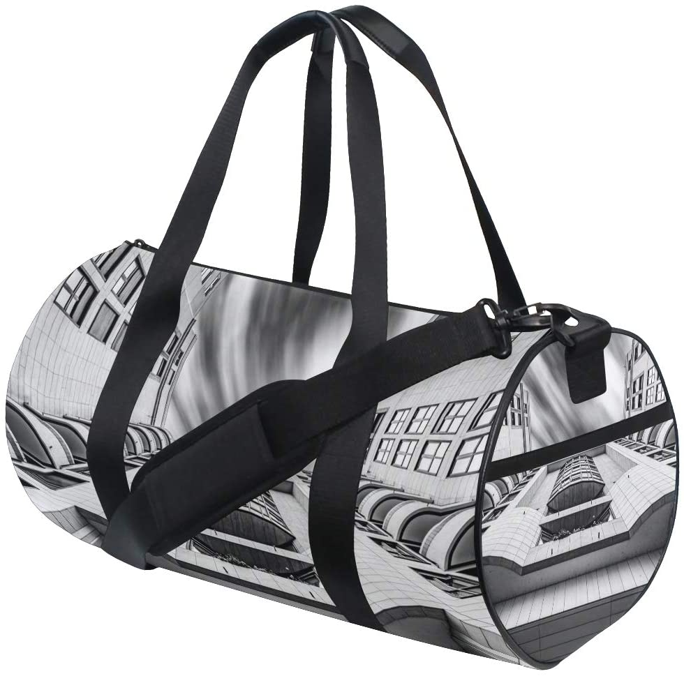 Travel Monochrome Architecture Building Light Drum Duffle Gym Sports Bags for Women and Men Fitness Canvas