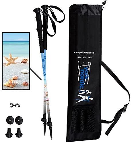 York Nordic Beach & Street Walking Poles - Shells & Beach Design - Choice of Grips - 2 Poles, Tips & Bag