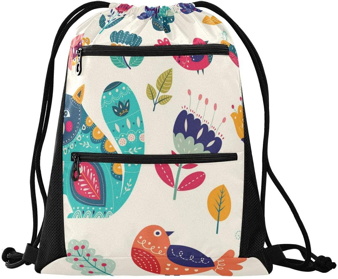 Drawstring Bag Cartoon Animal Pattern Lightweight Drawstring Backpacks for Adult Men and Women with Zipper Mesh Pockets