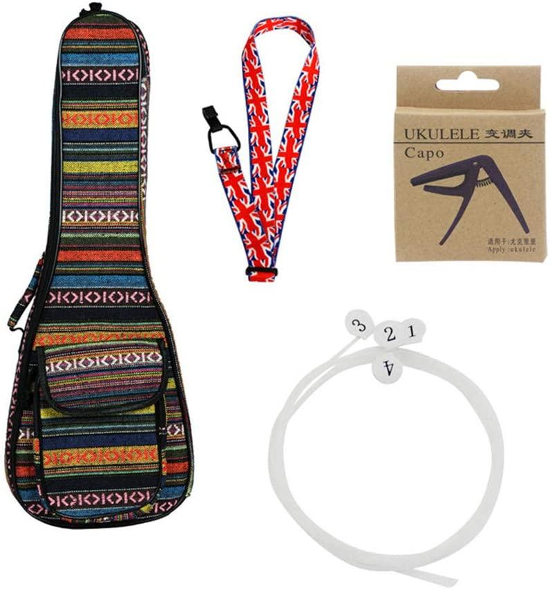 XuBa 4pcs Ukulele Kit 23inch Ethnic Ukulele Bag+U630 String+Flag Style Strap+Capo Delicate Ukelele Set Musical Instrument Accessories