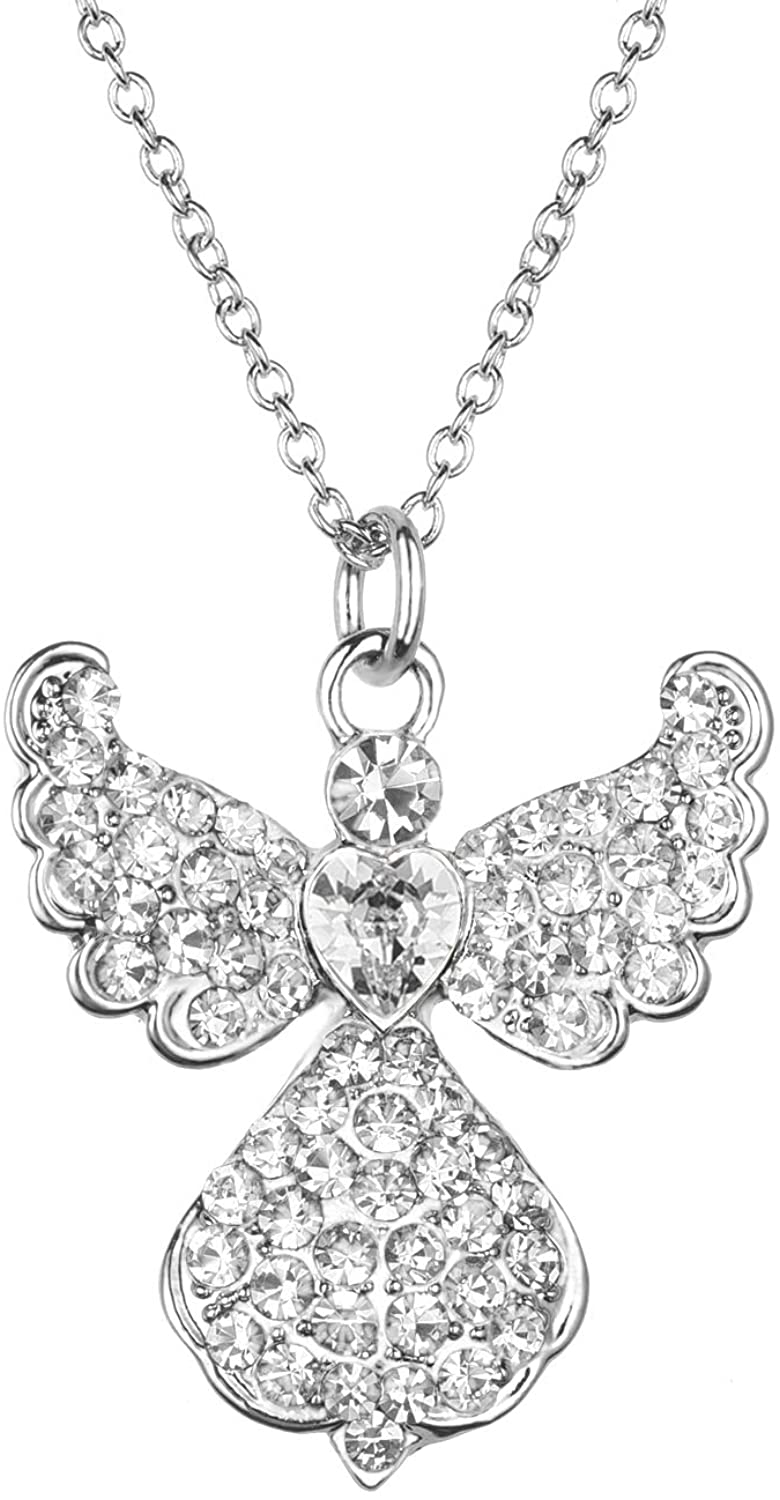 Angel Necklace Charm for Women Teen Girls Children,Cute Angel Wing Necklace White Gold Plated with Crystal