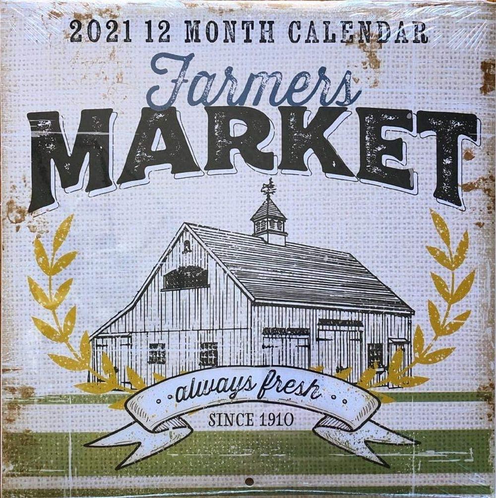 2021 12 Month Wall Calendar Farmers Market Farm Fresh Truck Pumpkin