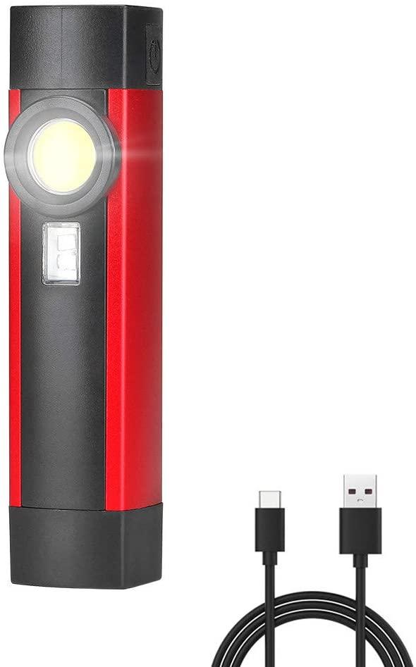 CDKZK LED Flashlight COB Magnetic Work Lamp Portable Lanterna UV Flashlight 4 Modes with Rechargeable 18650 Battery USB Port