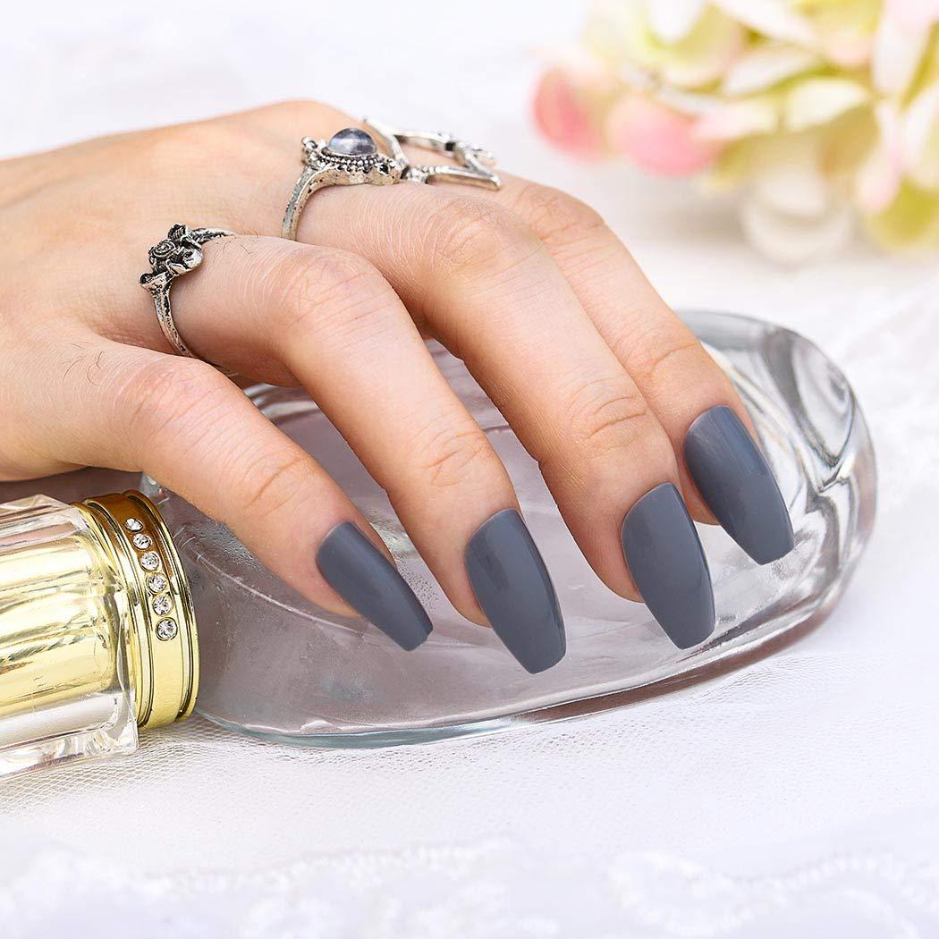 Wodega Glossy Coffin Fake Nails Gray Long Acrylic Ballerina Press on Nails Artificial False Nail Full Cover Art Tips Sets for Women and Girls (24pcs)