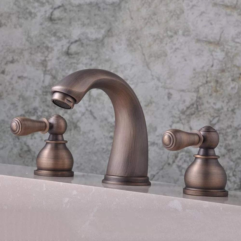 zZZ Three-Hole Faucet New European Retro Bathtub Copper in-Wall Bathroom Faucet Practical