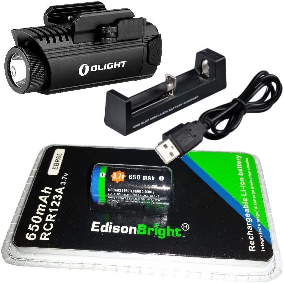 EdisonBright Olight PL1 II 450 Lumen LED Handgun Light EBR65 RCR123A Lithium-ion Battery and Charger Bundle